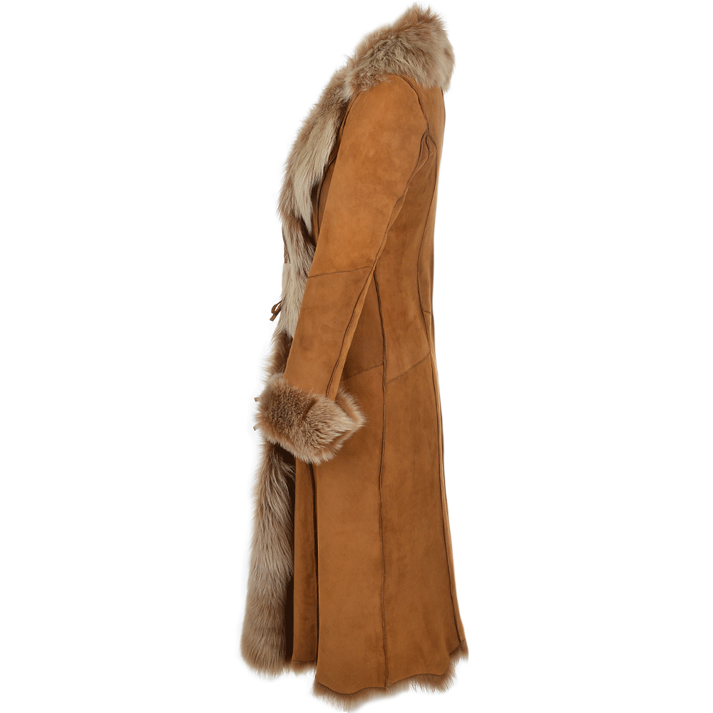 Women S Toscana Suede Leather Coat Tan Alaska