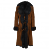 Ashwood Long Length Toscana Suede Leather Coat whisky/blk : Alaska