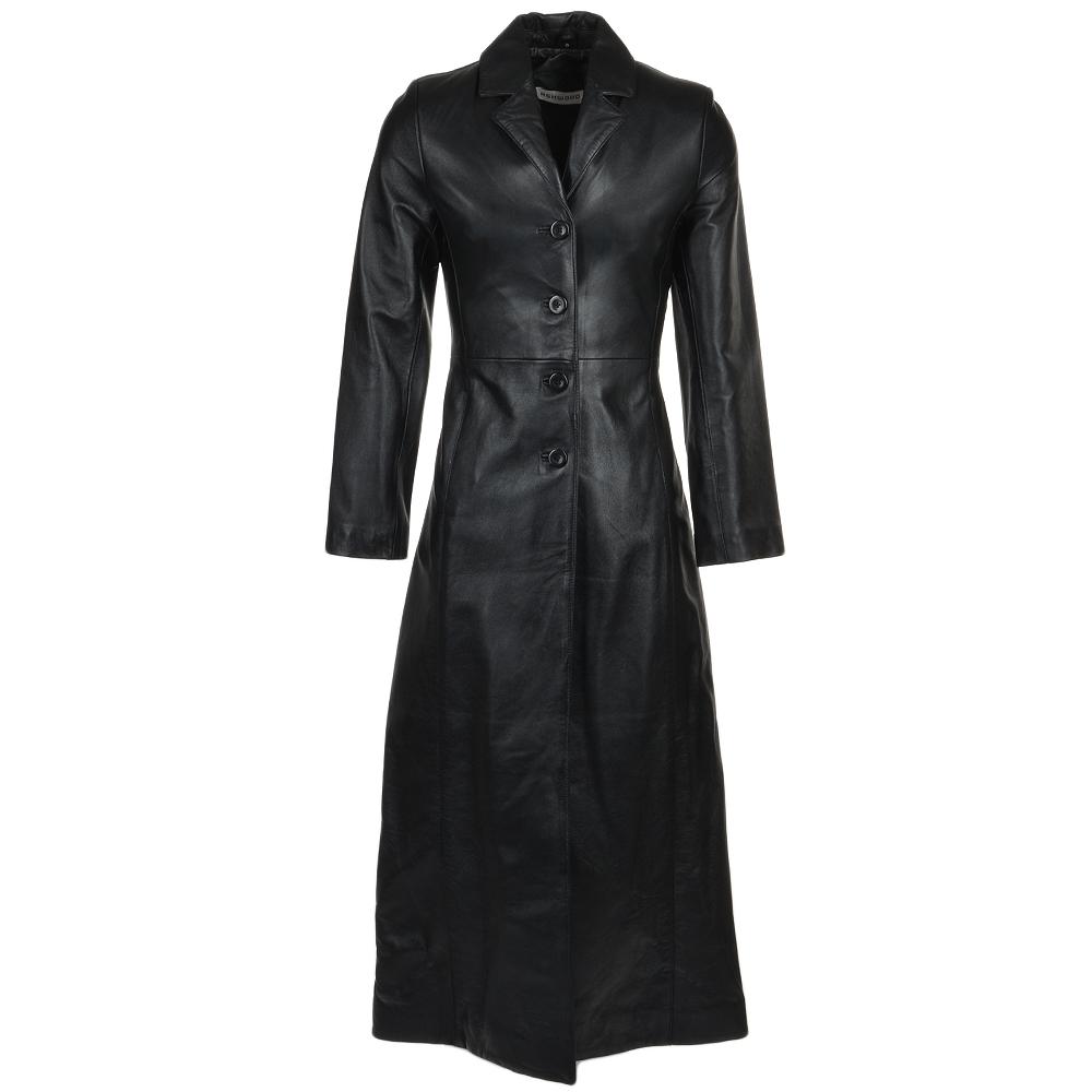 Womens Long Length Trench Coat Black Nap Ballari