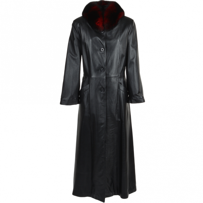 Ashwood Long Length Trench Coat Fox Trim Black : Collena