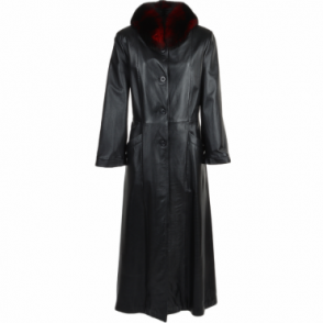 Long Length Trench Coat Fox Trim Black : Collena