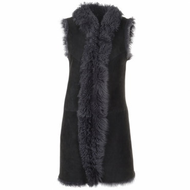 Long Reversible Sheepskin Suede Gillet Gypsy Dark Grey : Elixia