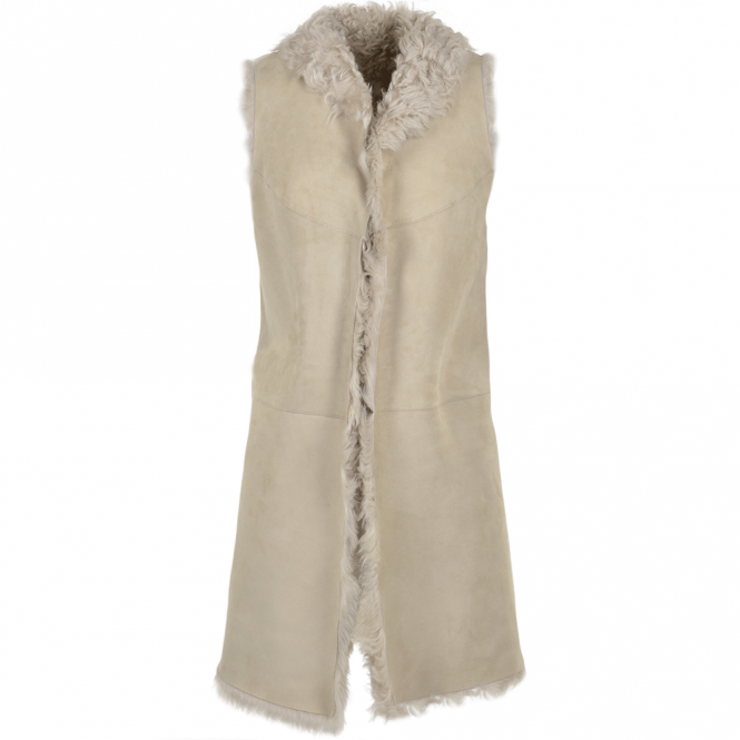 Ashwood Long Reversible Sheepskin Suede Gillet Gypsy Feather : Elixia