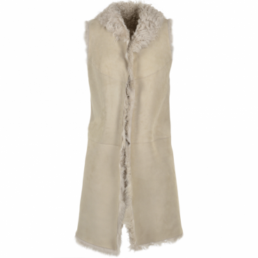 Long Reversible Sheepskin Suede Gillet Gypsy Feather : Elixia