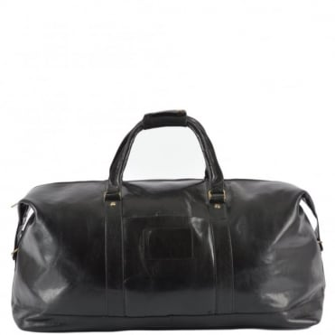 Extra Large Leather Travel Holdall Black/vt : 2081