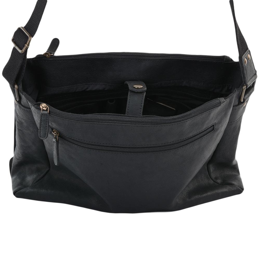 Mens Five Pocket Carry All Leather Messenger Bag Black ant   Pedro 08da0bdcc0fd9