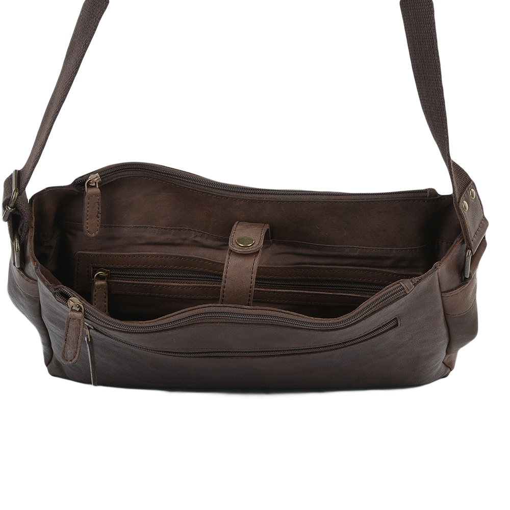 Mens Five Pocket Carry All Leather Messenger Bag Brown wash   Pedro 56d02d87cc0b9