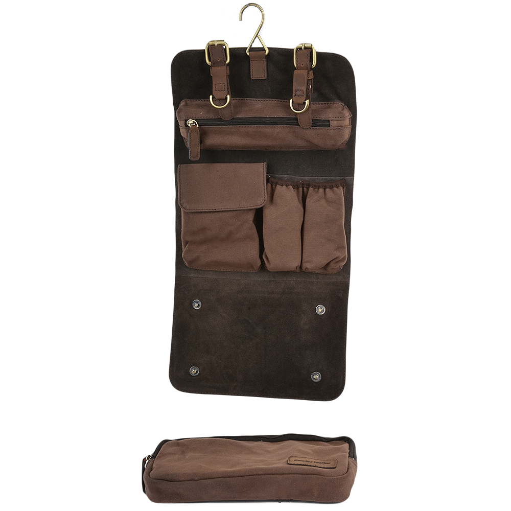Mens Leather Amp Canvas Hanging Toiletry Bag Mud Mud 7010