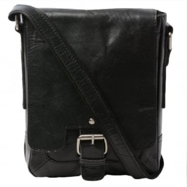 Mens Leather Flight Bag Black/crum : 8341