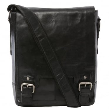 Mens Leather Ipad Messenger Bag Black/crum : 8342