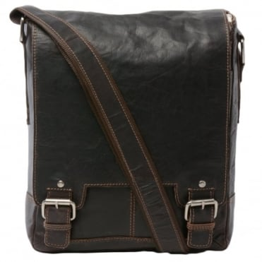 Mens Leather Ipad Messenger Bag Brown/crum : 8342