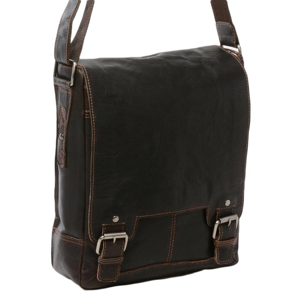 Mens Leather Ipad Messenger Bag Brown Crum 8342 Mens