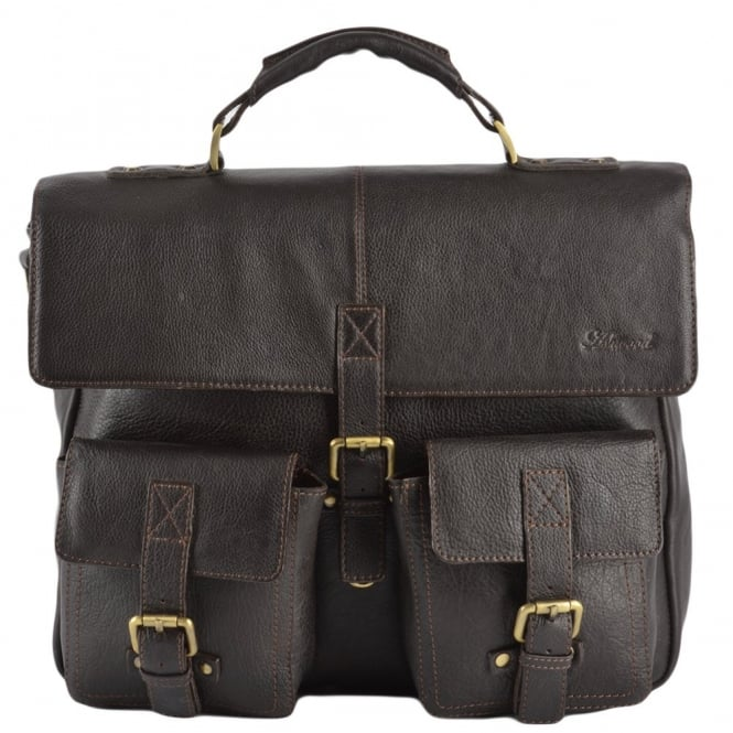 Ashwood Mens Leather Laptop Briefcase Brown/tum : James