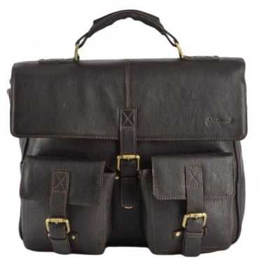 Mens Leather Laptop Briefcase Brown/tum : James