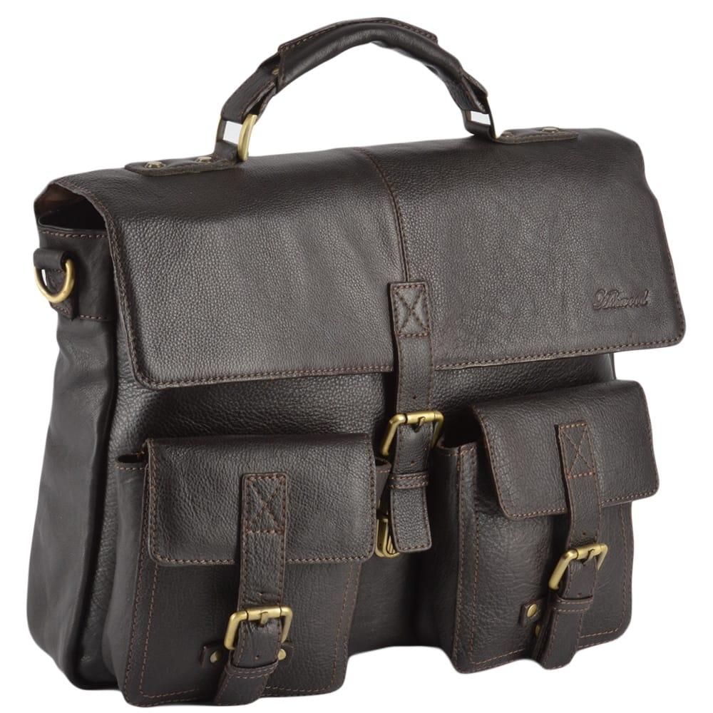 966354d92d Mens Leather Laptop Briefcase Brown tum   James