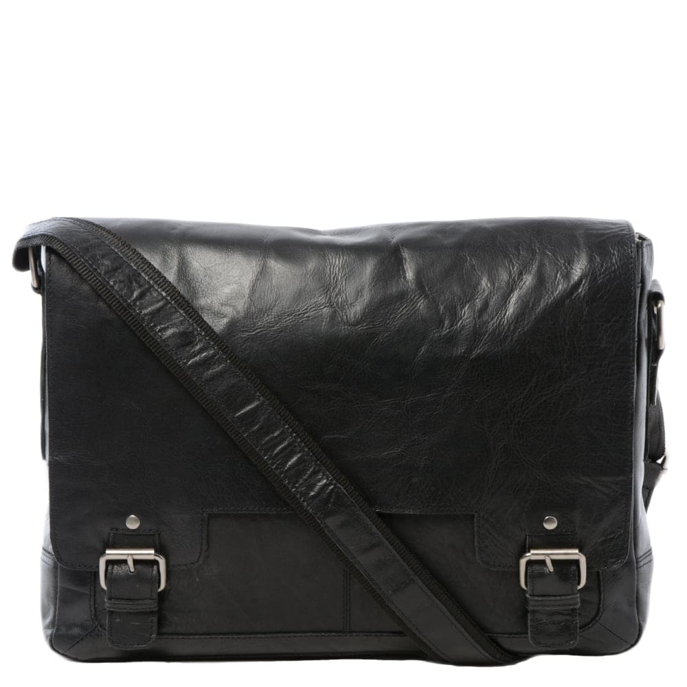 Mens Leather Laptop Messenger Bag Black Crum 8343 Mens