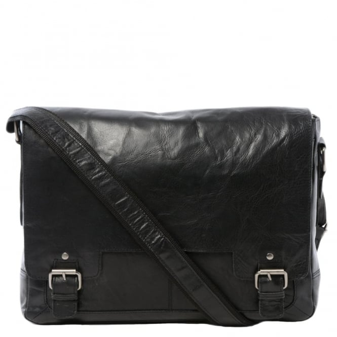 Ashwood Mens Leather Laptop Messenger Bag Black/crum : 8343
