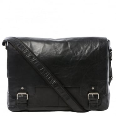 Mens Leather Laptop Messenger Bag Black/crum : 8343