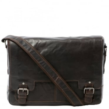 Mens Leather Laptop Messenger Bag Brown/crum : 8343