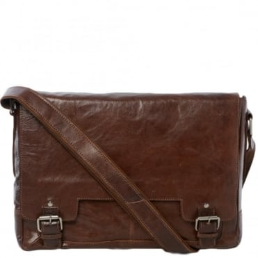 Mens Leather Laptop Messenger Bag Tan/crum : 8343