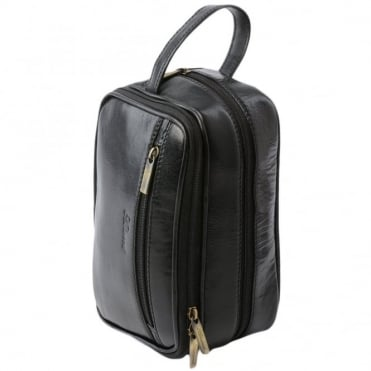 Mens Leather Washbag Black/vt : 2080