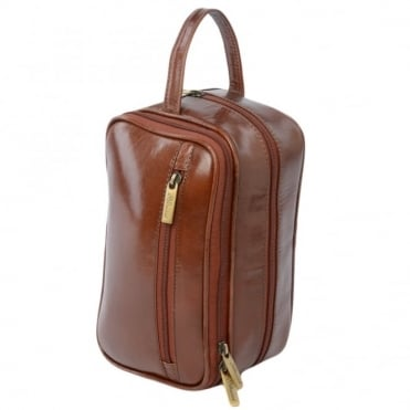 Mens Leather Washbag Chestnut/vt : 2080