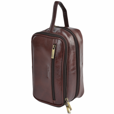 Mens Leather Washbag Cognac/vt : 2080