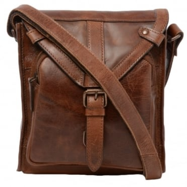 Mens Small Leather Travel Bag Tan : Plato