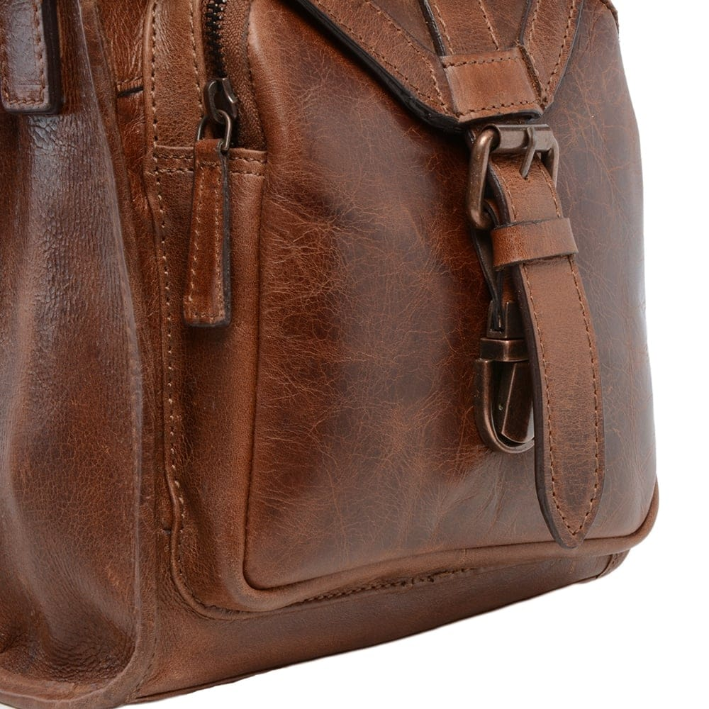 Mens Small Leather Travel Bag Tan : Plato | Mens Leather Bags