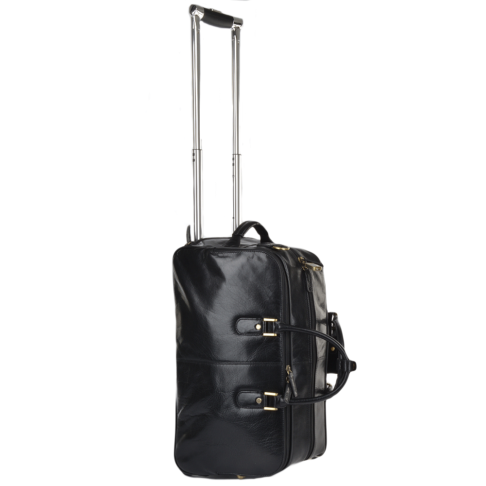 Vegetable Tanned Leather Weekend Travel Holdall Black : 76660