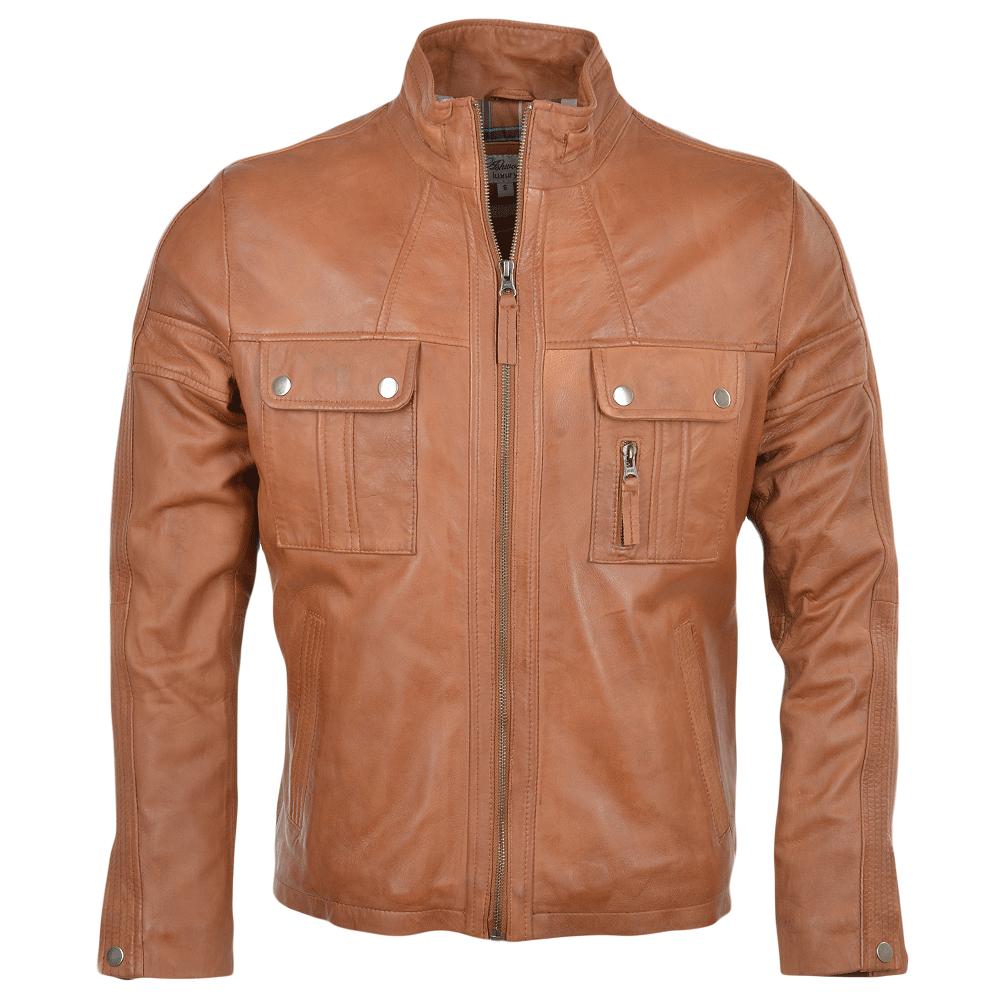 Sheepskin Rug Edinburgh: Mens Leather Jacket Tan : Bacchus
