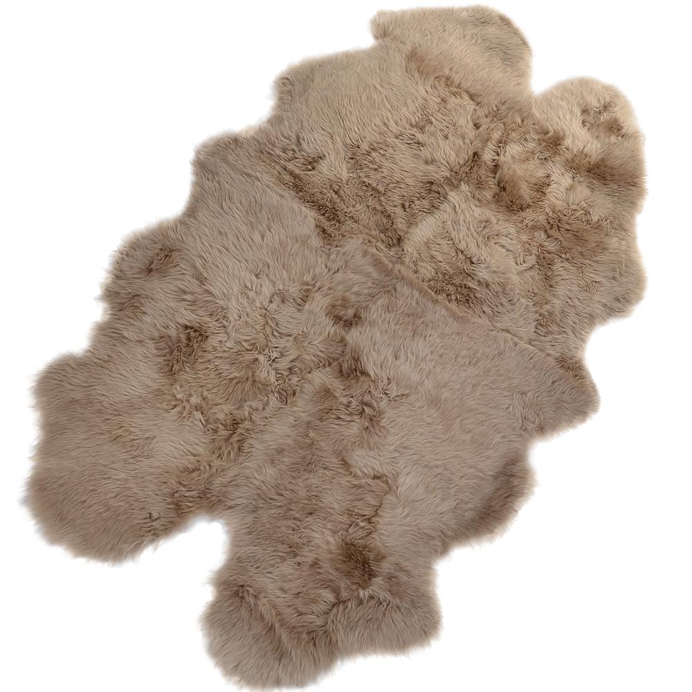 Luxury Sheepskin Quad Rug : Taupe