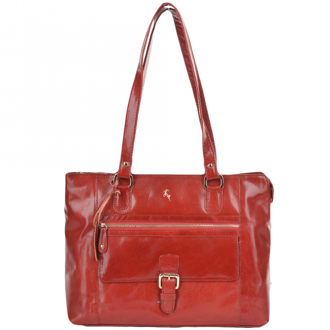 Ashwood Medium Buffalo Glazed Veg Tanned Leather Bag Red/vt : 52188
