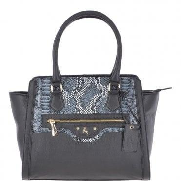 213d31cc3fa8 Medium Leather Handbag With Snake Print Black   62241