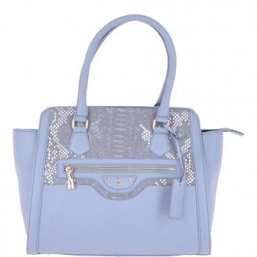 b389f7b68fe2 Medium Leather Handbag With Snake Print Cornflower Blue   62241