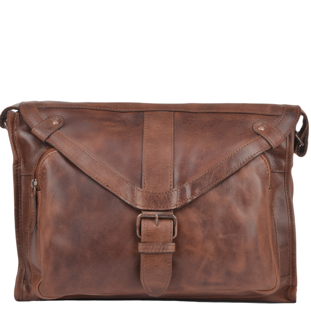 Mens Medium Leather Messenger Bag Tan : Rhode
