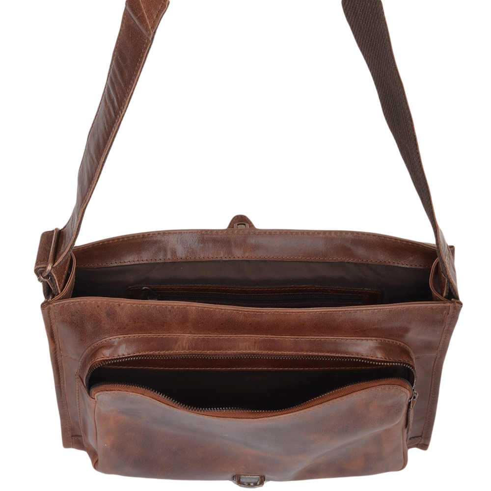 Mens Medium Leather Messenger Bag Tan   Rhode 4d5ca5dc9a1da