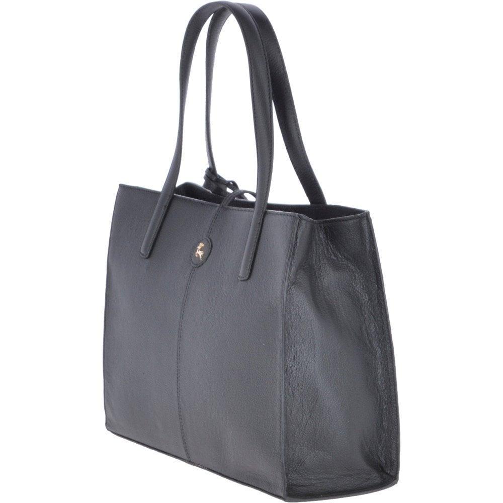 f92c8a80e Medium Leather Shopper Bag Black : 61648 - Handbags from Leather ...