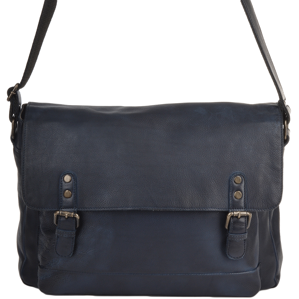 dbe3f196b566 Medium Leather Vintage Wash Messenger Bag With Laptop Sleeve Navy  1336