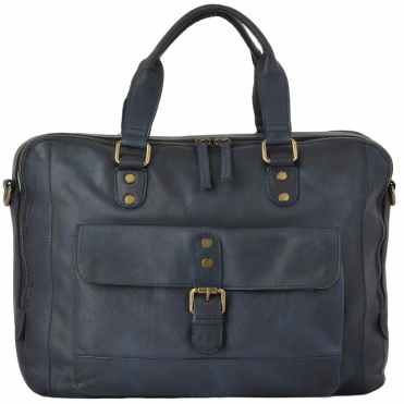 Medium Leather  Vintage Wash Two Section Work Bag  Navy: 1334