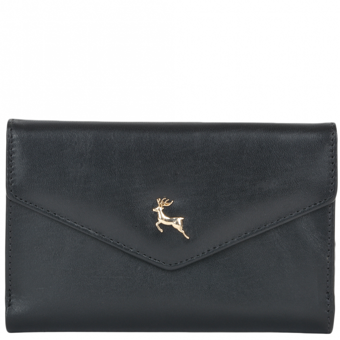 Ashwood Medium Vegetable Tanned Leather Note And Coin Purse Black : POH-1004