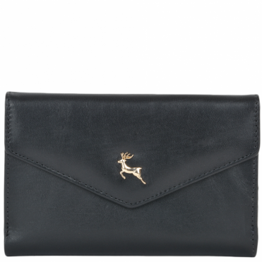 Medium Vegetable Tanned Leather Note And Coin Purse Black : POH-1004