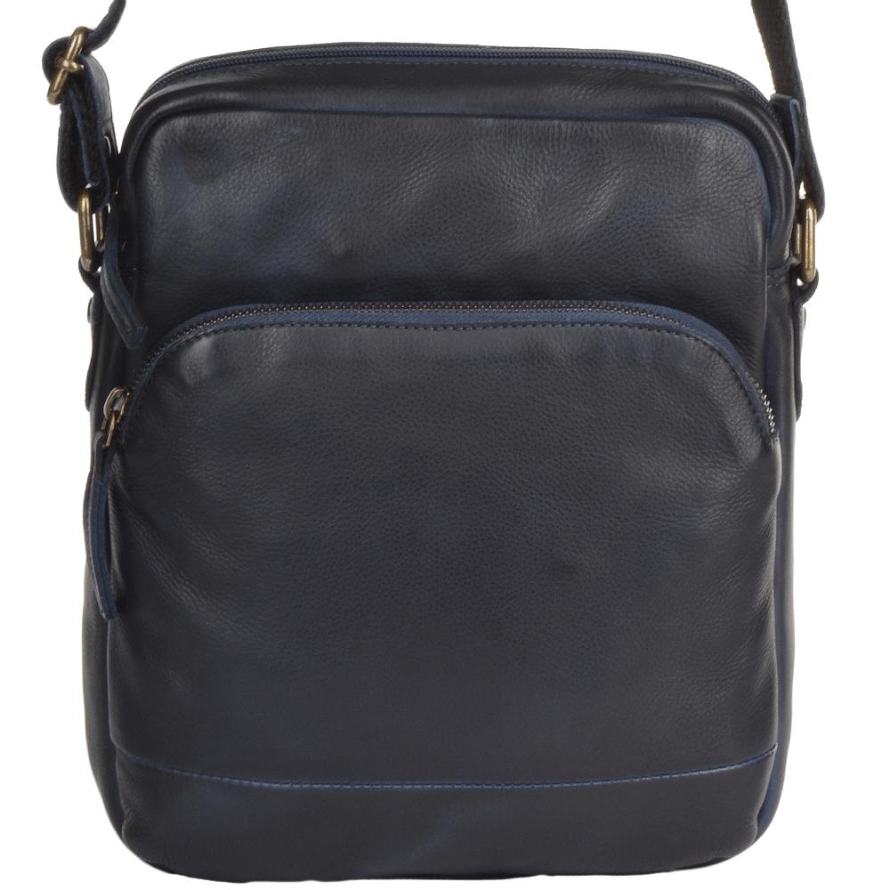 f13db4a7b35 Mens Medium Vintage Leather Travel Bag Navy   1333