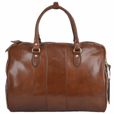 Medium Weekend Leather Holdall Chestnut/vt : Harry