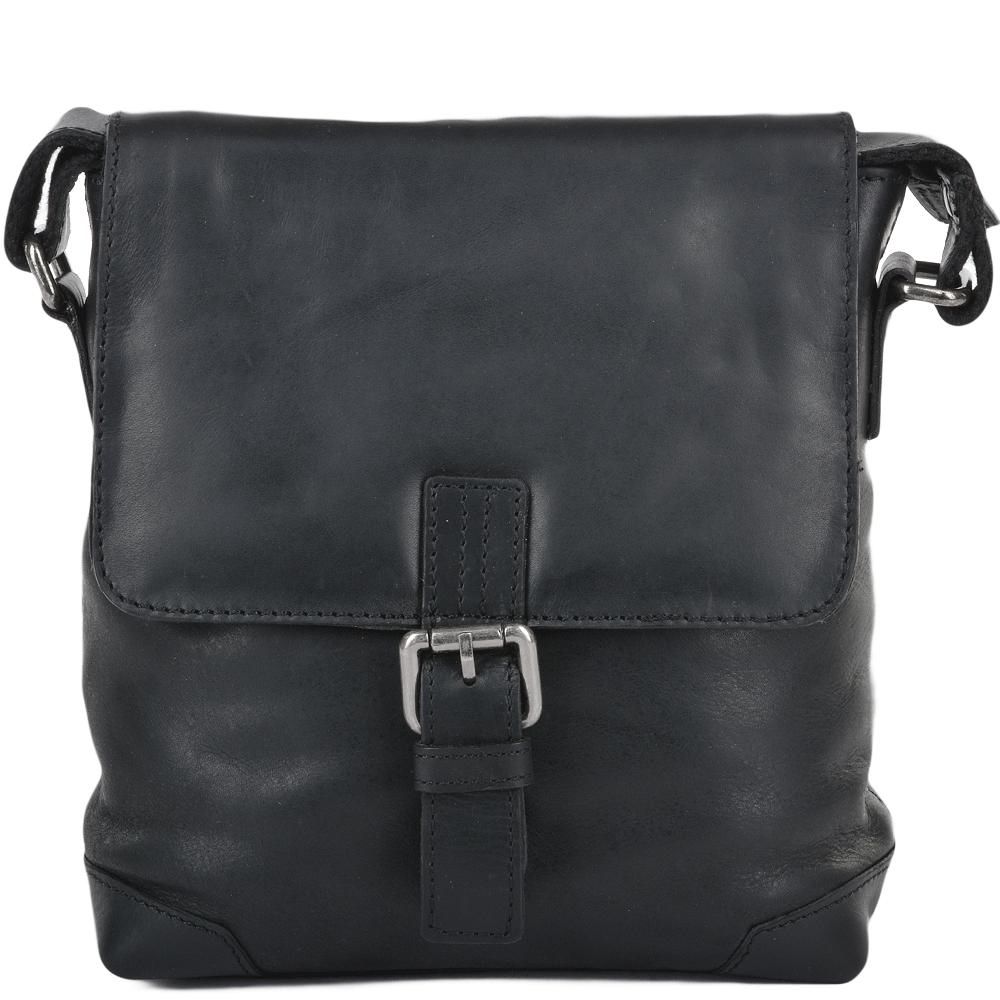 Mens 3 Pocket Luxury Small Leather Flight Bag Black Jack