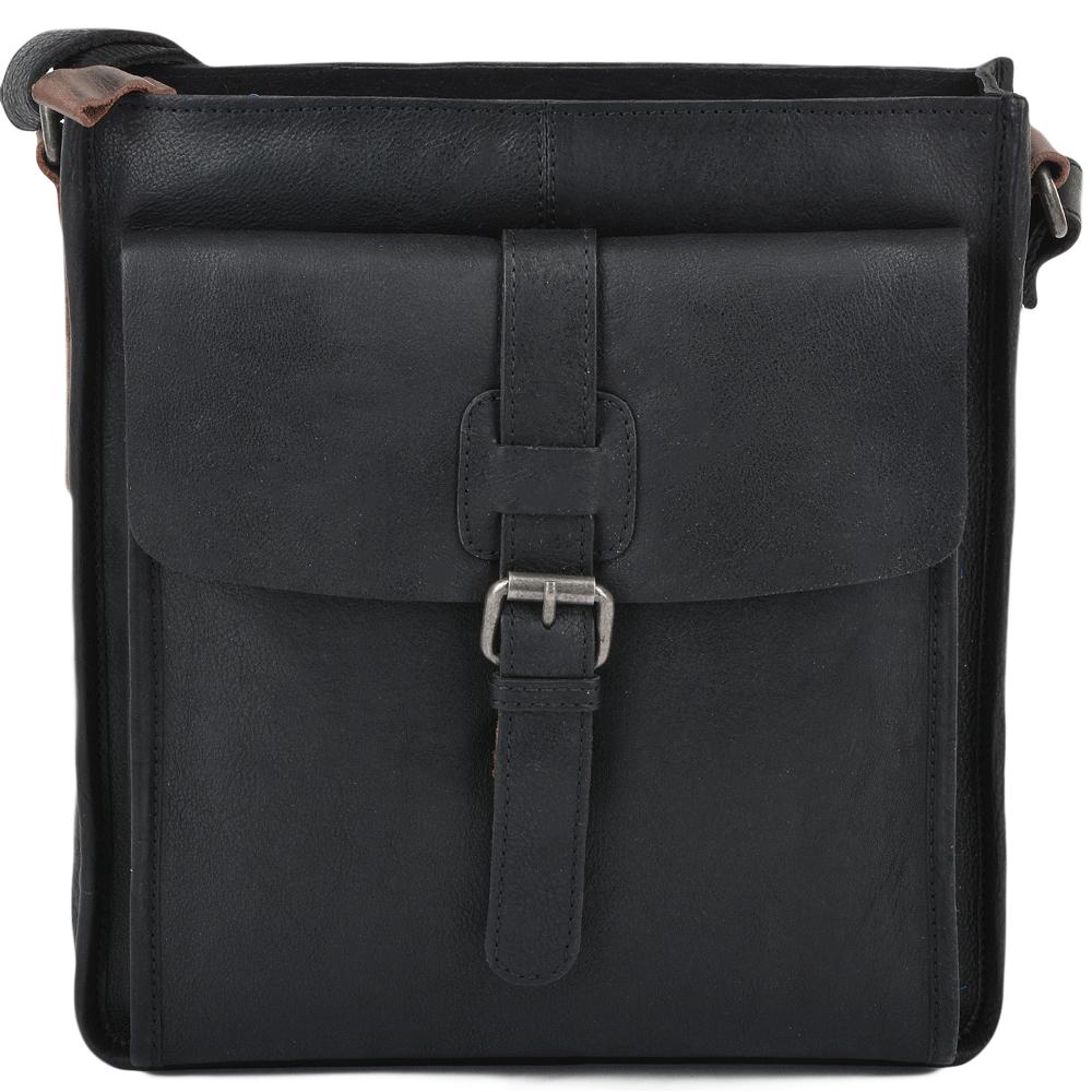 bfe073fc50 Mens 3 Pocket Medium Leather Messenger Black Tan   4552