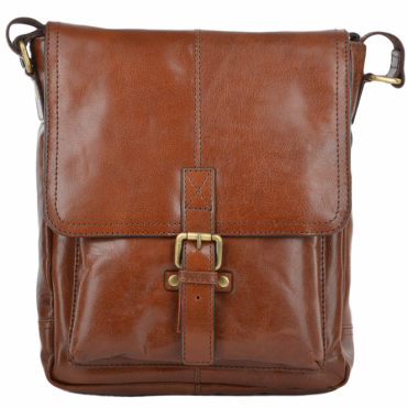 Mens A4 Ipad Pocket Leather Messenger Bag Chestnut/vt : Benjamin