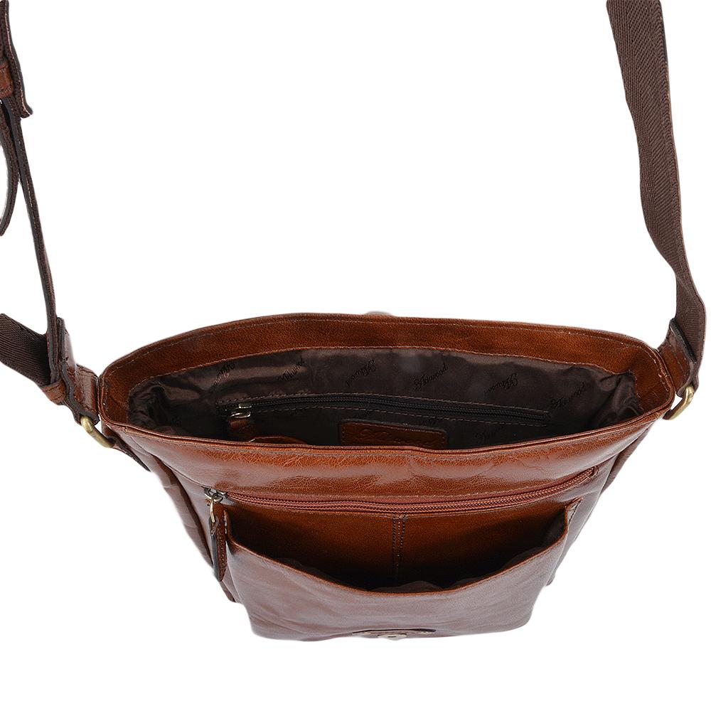 Mens A4 Ipad Pocket Leather Messenger Bag Chestnut vt   Benjamin 3c6d62096e999