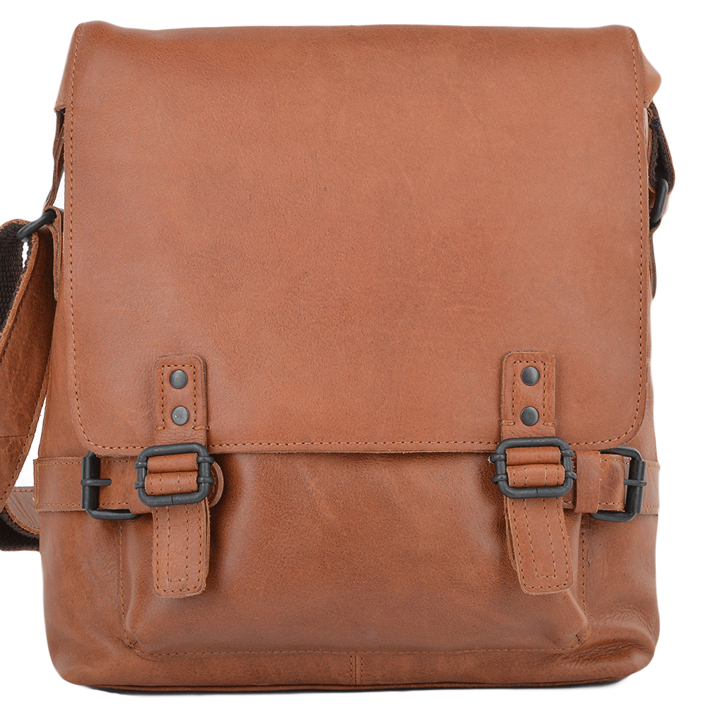 604c10ea845f7 Mens A4 Medium Leather Messenger Bag Tan   Pablo