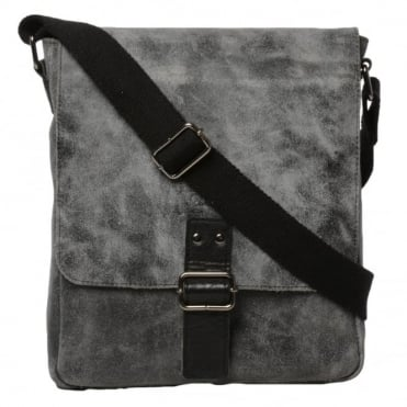 Mens Buffed Leather Medium Messenger Bag Grey/ Black : 5711